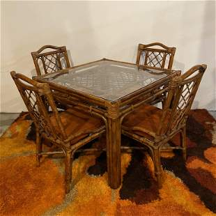 Vintage Rattan Dining Table & Chairs