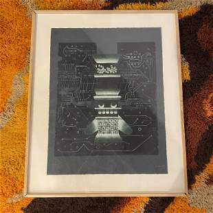 Post Modern Abstract Lithograph signed Nissen 1981