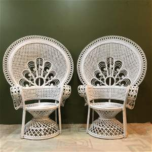 Pair White Wicker Peacock Chairs