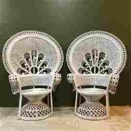 Pair White Wicker Peacock Chairs