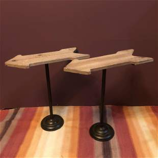 Pr. Wood Arrow Side Tables