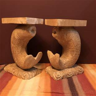 Handcarved Fish End Tables