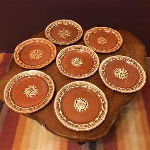 California Redware Dishes - 7 plates