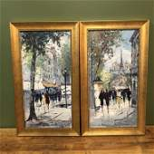 Pair French Oil on Canvas Signed Revart