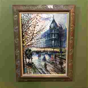 French Scene Oil on Canvas Signed