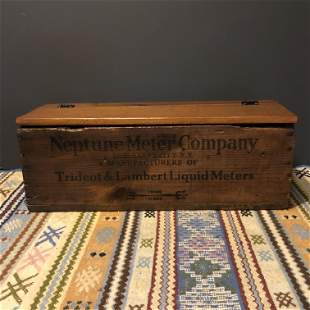 Neptune Motor Company Wooden Advertising Crate