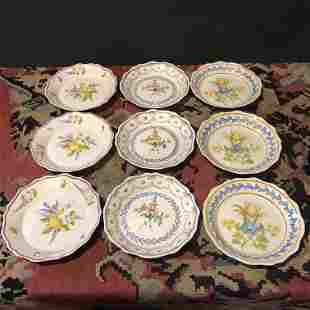 Set 9 Marshall Fields Faience Dishes from France