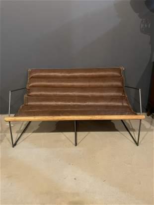 Post Modern Brown Leather Sofa