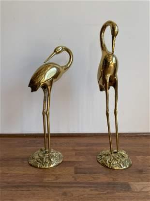 Pair Mid Century Brass Herons