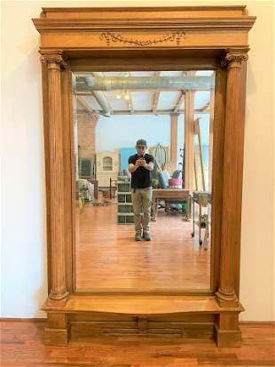 Victorian Oak Pier Mirror with Fluted Columns