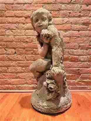 Victorian 1800's Stone Figural Garden Statue
