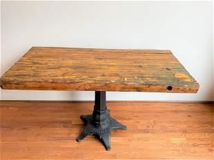 Vintage Industrial Butcher Block Top Work Table