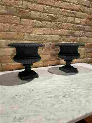 Early 20th C. Classical Style Cast Iron Plant Urns