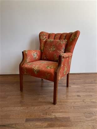 Vintage Floral Wingback Arm Chair