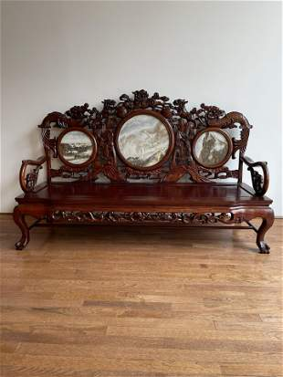 Chinese Rosewood & Marble Insert Dragon Bench