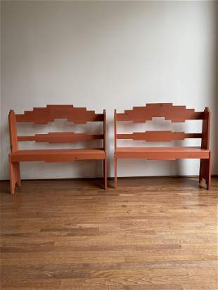 Pair Post Modern Pine Wood Garden Benches