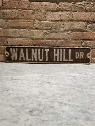 Antique Enamel Street Sign Walnut Hill Dr.