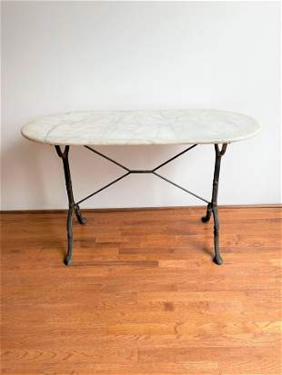 French Marble Top Wrought Iron Garden Table