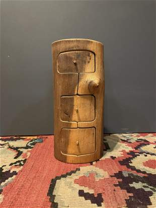 Carved Wood Folk Art Jewelry Box
