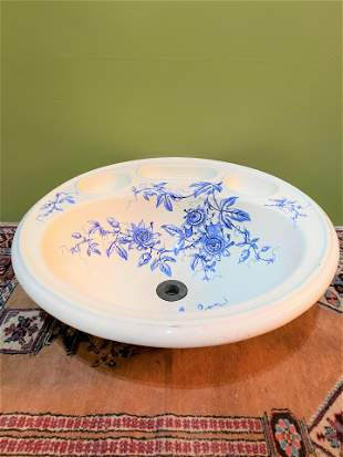 19th C. French Porcelain Sink Blue & White