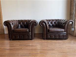 Pair Leather Chesterfield Club Chairs