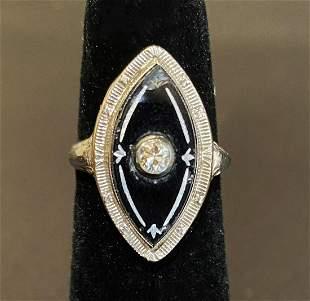1920s Art Deco 14K White Gold Onyx & Diamond Ring
