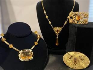 Early 20th C. Art Nouveau Czech Glass & Brass Jewelry