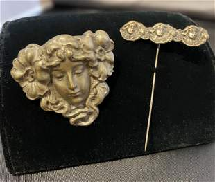 2 Art Nouveau Women Face Brooch & Stick Pin Jewelry