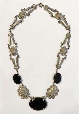 1920s Art Deco Jet Black Glass Flower Necklace