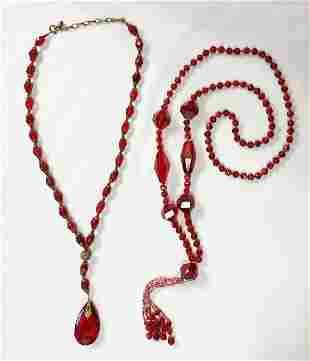 1920s Czech Glass Flapper Necklaces