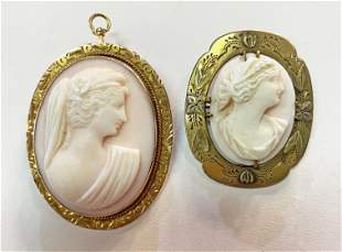 2 Victorian Pink Coral Brooch Pendants Gold