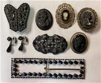 Collection Victorian Jet Black Mourning Jewelry