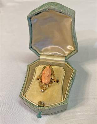 10K Gold Art Nouveau Coral Cameo w Diamond Ring