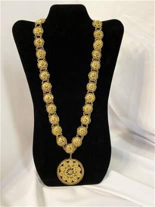 Victorian Brass Wire Necklace