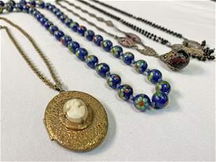 Collection 1920s Cloisonne, Cameo, etc. Necklace Lot