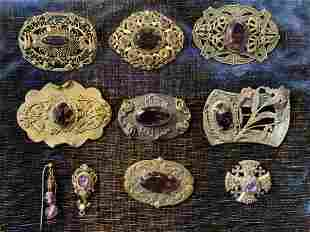 Victorian Amethyst Jewelry Pin Brooches - 1 Sterling