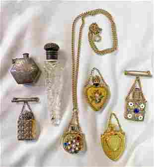 Collection 7 mini perfume bottles Sterling Victorian