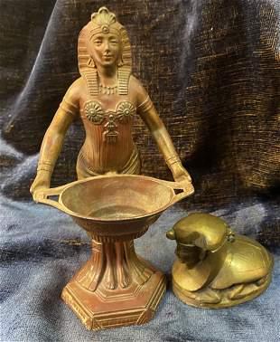 1920's Art Deco Bronze Egyptian Revival Statues