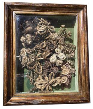 Early Mourning Victorian Hair Wreath in Shadowbox Frame