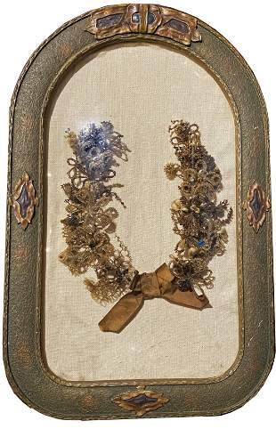 Early Victorian Mourning Wreath in Frame