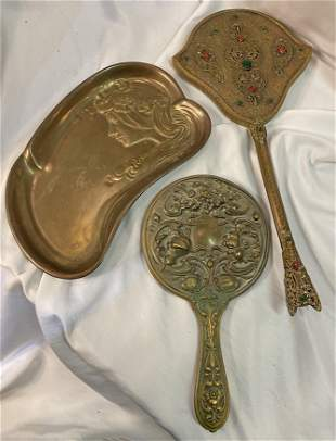 Collection of Victorian Hand Mirrors & Art Nouveau Tray