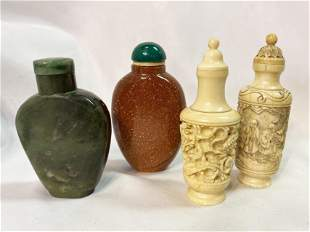 Collection 4 Chinese Art Deco Snuff Bottles Jade Carved
