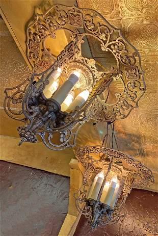 Pair Matching 1920s Cast Metal Art Deco Ceiling Mounts