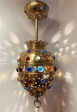 Exceptional East Lake Victorian Brass Jeweled Light