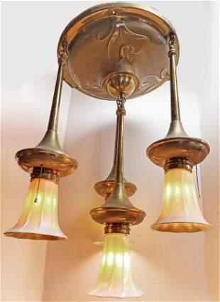 1900 Art Nouveau Quezal Light Fixture