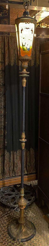 Art Deco Reverse Painted Floor Lamp