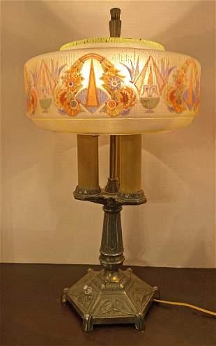 Antique Art Deco Reverse Painted Lamp