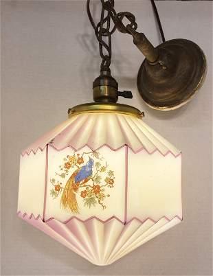 Art Deco Milk Glass Painted Light Fixture