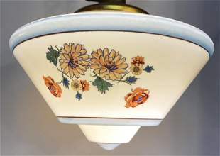 Art Deco Light Fixture Hand Painted Milk Glass