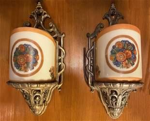 Pair Art Deco Reverse Painted Sconces